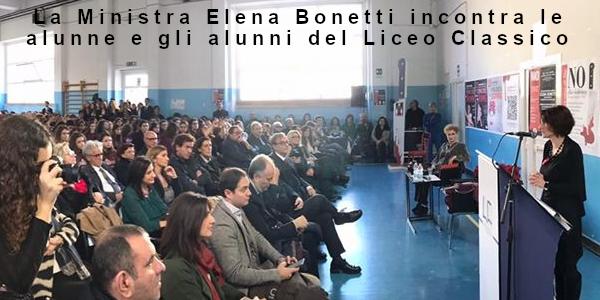 La Ministra Elena Bonetti incontra le alunne e gli alunni del Liceo Classico